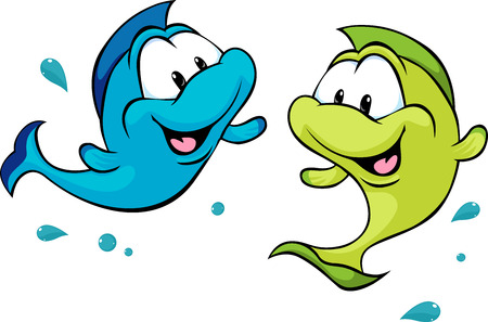 blue fish: two funny fish isolated on white background - vector illustration
