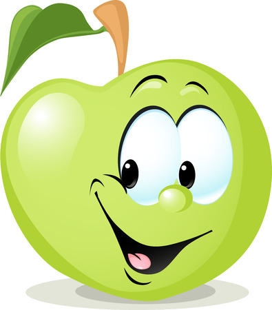 apple isolated: cute apple character - vector illustration isolated on white background