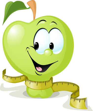 funny fruit: cute vector apple smiling with tape measure - vector illustration isolated on white background Illustration