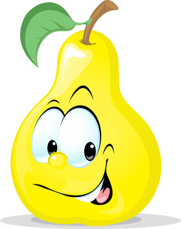 fruit cartoon: cute pear character - vector illustration isolated on white background