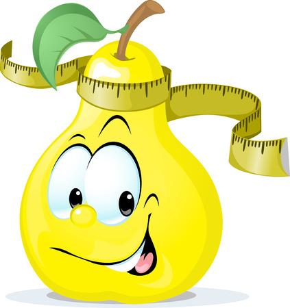 mignon vecteur poire souriant avec un ruban à mesurer - illustration vectorielle isolé sur fond blanc