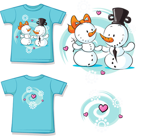 cute love: snowmen in love printed on shirt - vector illustration