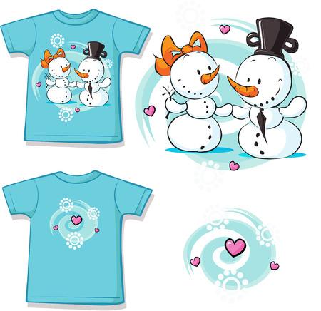 wedding couple: snowmen in love printed on shirt - vector illustration