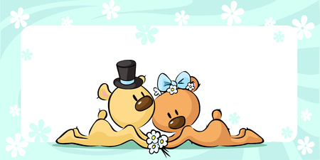 two animals: Bears in wedding dress lies on horizontal design - vector illustration