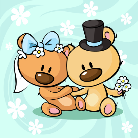 wedding dress: Bears in wedding dress sitting on abstract background - vector illustration