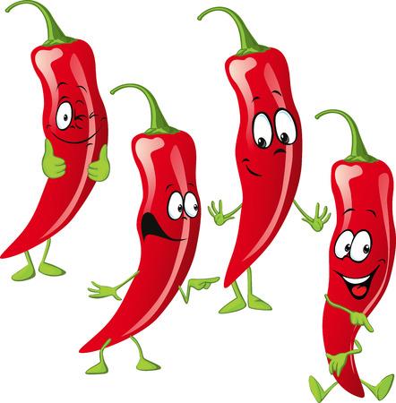 cayenne: chili pepper cartoon  isolated on white background