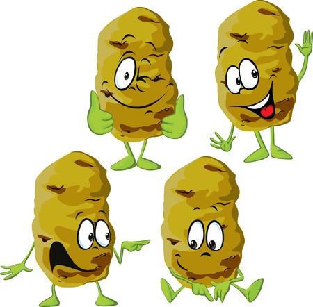 feel good: potato cartoon isolated on white background Illustration
