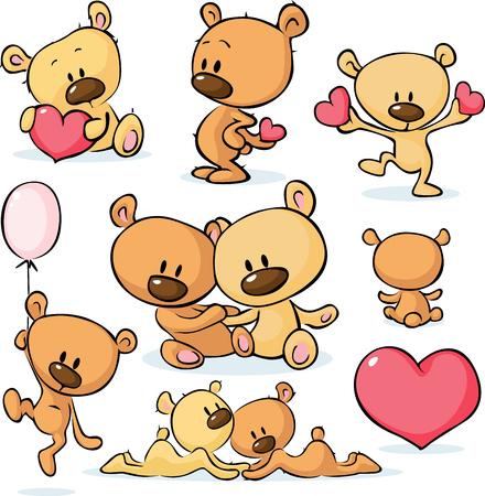 couple back to back: cute valentines teddy bear - illustration Illustration