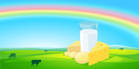 milk products: milk products with rainbow natural  background - illustration