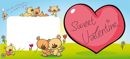 valentine card: cute teddy bear design with valentine heart - illustration