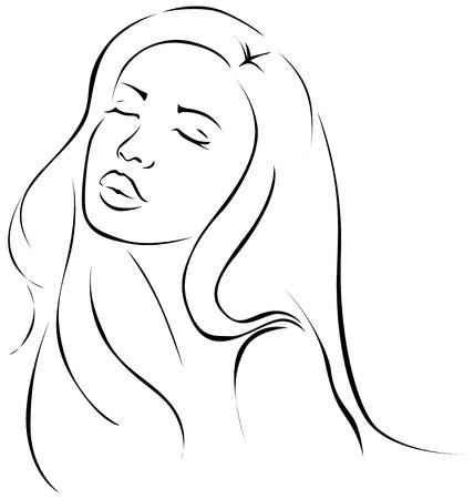Sensual hermosa ilustración mujer joven - línea de negro