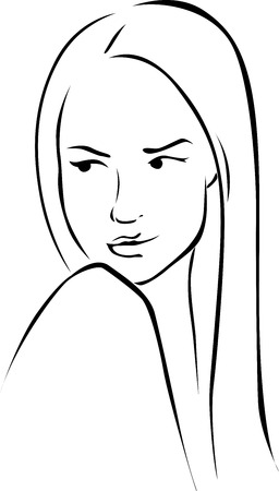looks: Beautiful young woman illustration look to the left - black line