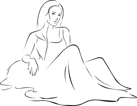 sitting on the ground: Beautiful Woman in dress sitting on the ground black outline illustration