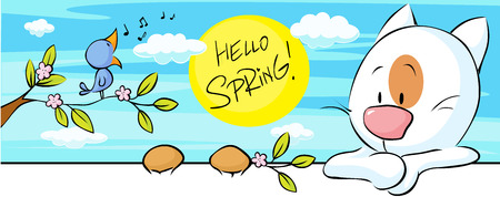 cute animals: spring banner with singing bird and cat and flower blossom illustration