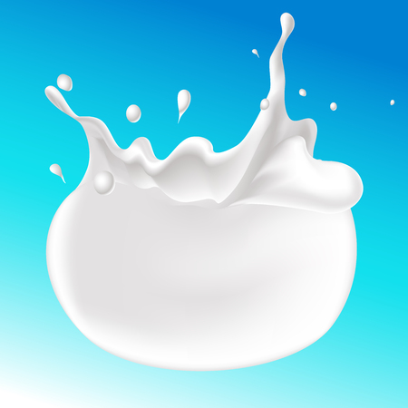 levitation: splash of milk on blue background - vector illustration Illustration