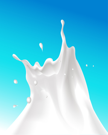 levitation: splash of milk on blue background, vertical design - vector illustration Illustration