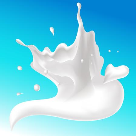 tornado: splash of milk on blue background, tornado whirl - vector illustration