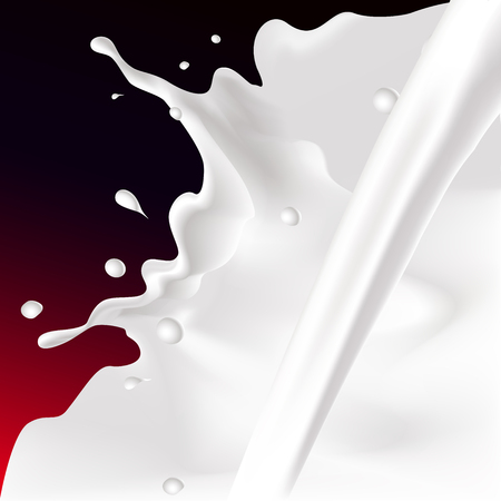 leaks: white splash and pour milk illustration on dark red background