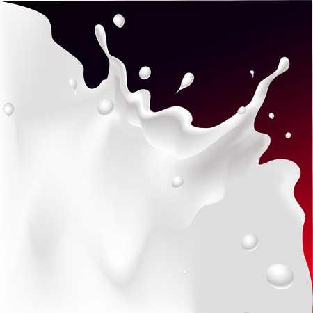 leaks: white splash milk illustration on dark red background