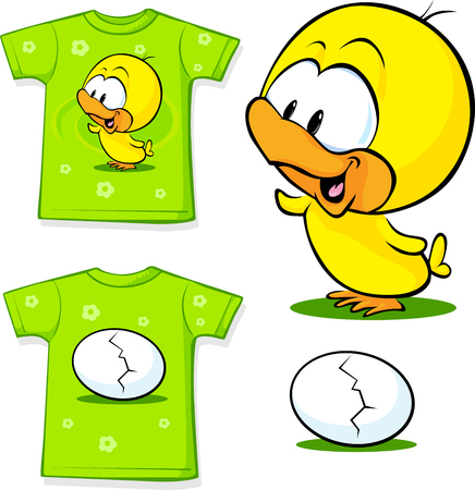 chicken and egg: cute shirt with egg Illustration