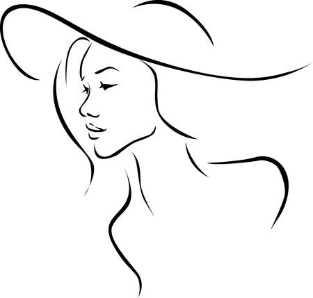 kapelusze: Piękna młoda kobieta z kapelusz ilustracji profilu - czarna linia