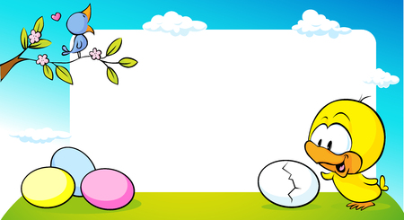 green cute: blossom twig with singing bird and cute chicken on green grass frame - illustration