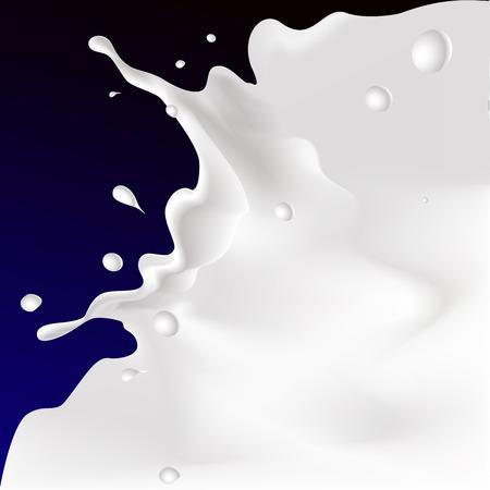 vector white splash milk illustration on dark violet blue background Illustration