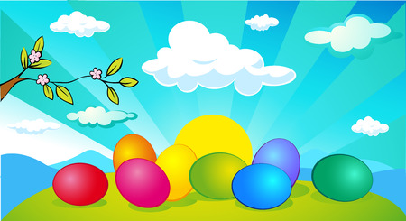 colourful sky: horizontal easter and spring banner design with easter egg Illustration