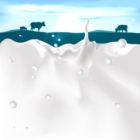 leche: ilustración vectorial blanco bienvenida de leche en el fondo de color azul oscuro con la vaca y de la puesta del sol