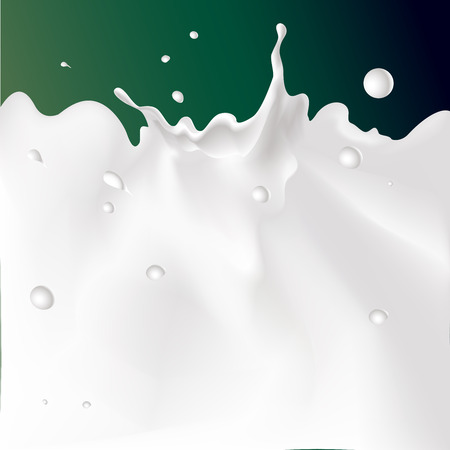vector white splash milk illustration on dark green background
