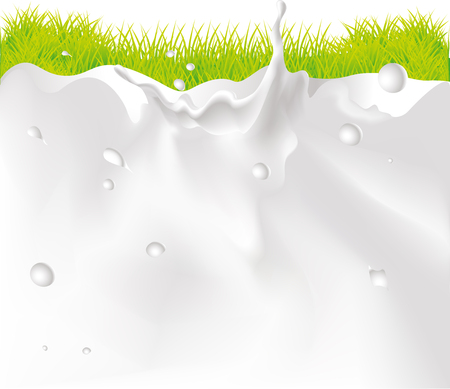 Milk Splash Background And green Grass