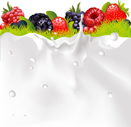 leaks: Milk Splash Background, Fruit Berries And green Grass