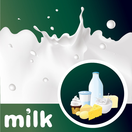 leaks: milk design with splash, cheese, yogurt and diary product