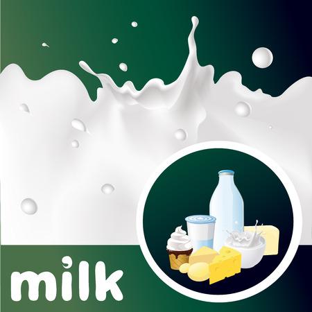 ice surface: milk design with splash, cheese, yogurt and diary product