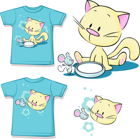 cute kitten: shirt printed - Cute kitten sitting next to dishes of milk watches mouse