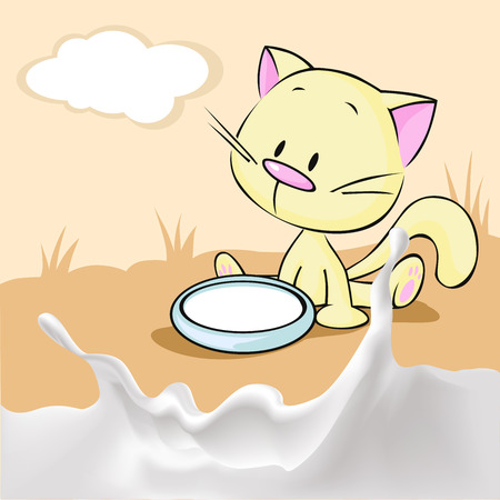 squirt: kitten sitting in a bowl with milk  - vector illustration Illustration