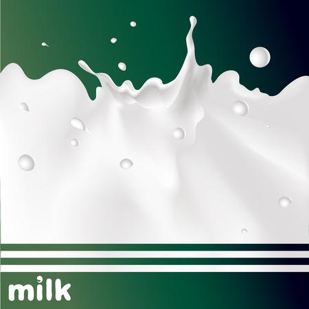 squirt: milk splash on green background - vector design Illustration
