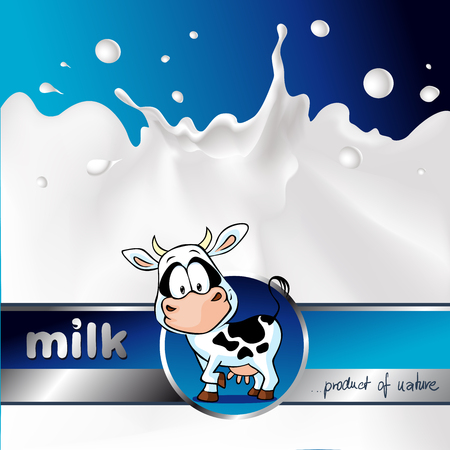 strip a cow: blue design with cow and milk splash - vector illustration