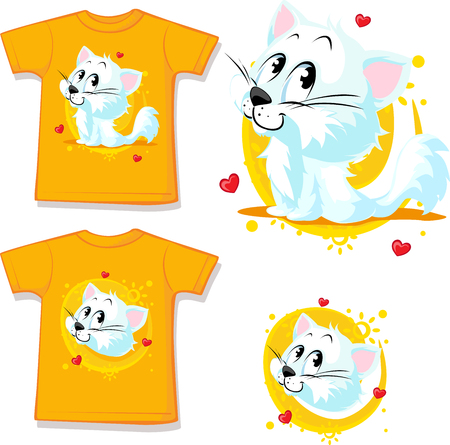 printed: shirt with cute white cat - vector illustration