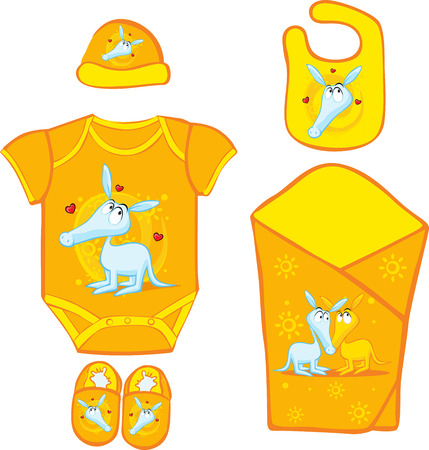 bootees: Baby Layette with cute ardvark - vector illustration Illustration
