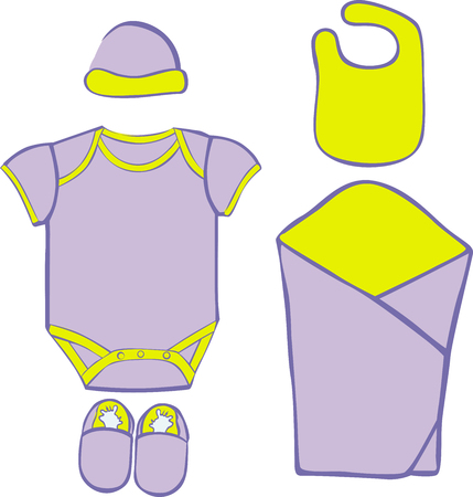 bootees: Baby Layette  - vector illustration