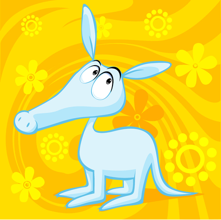 aardvark: cute aardvark illustration with abstract floral background