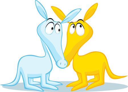 aardvark: two cute aardvark illustration isolated on white background