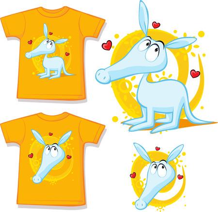 aardvark: shirt with cute aardvark illustration