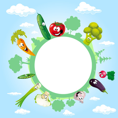 globe surrounded by clouds, sky and vegetable - vector illustration