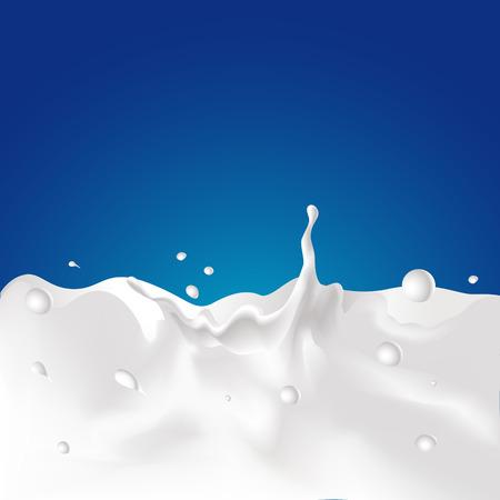 Vector splash van melk - illustratie met donkerblauwe achtergrond