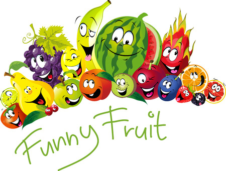 Funny fruit - many fruit with smile and happy face - vector fruit illustration Stock Illustratie