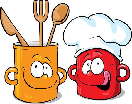 lick: funny kitchen pot character - pot vector illustration