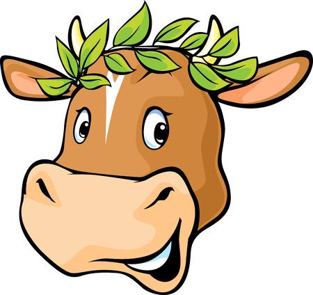 Cow head with a laurel wreath Stock Illustratie
