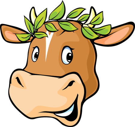 Cow head with a laurel wreath Illustration